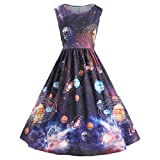 SEWORLD 2018 Damenmode Sommer Frauen Vintage Drucken Sternenhimmel Planeten Space Kleid(A-a-Mehrfarbig,EU-42/CN-XL)