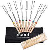 eBoot Marshmallow Roasting Sticks Telescopic BBQ Fork with Canvas Pouch and Bamboo Sticks (8 Pieces)