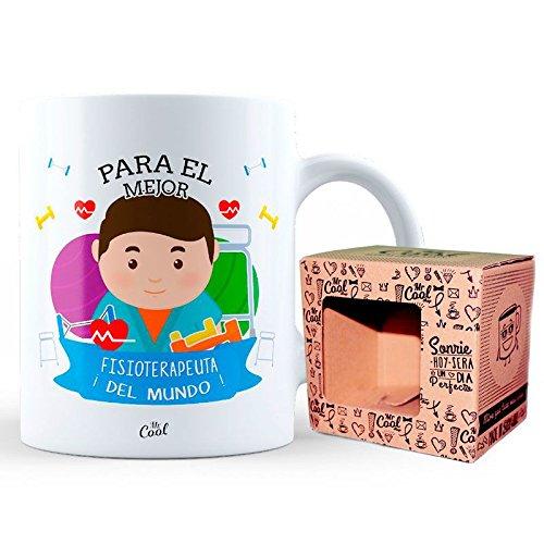 Mr Cool Taza en Caja Regalo en Mensaje para el Mejor Fisioterapeuta ¡del Mundo, Cerámica, 15x10x5 cm