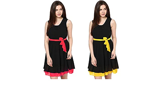 72b69aa58f9d Iande Yellow And Red A-Line Georgette Women Evening party Wear Dresses   Amazon.in  Clothing   Accessories