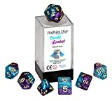 Psionic Combat Halfsies Dice - 7 die polyhedral rpg gaming dice set - Violet & Cyan by Gate Keeper Games