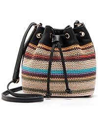 Sac à bandoulière femme,Jimma Les femmes en cuir sac à bandoulière seau fourre-tout sac à main bandoulière Messenger Bag (Marron)