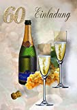 Einladungskarten 60. Geburtstag Frau Mann mit Innentext Motiv Champagner 10 Klappkarten DIN A6 im Hochformat mit weißen Umschlägen im Set Geburtstagskarten Einladung 60 Geburtstag Mann Frau K202