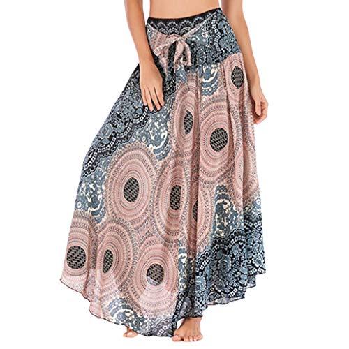 HOOUDO Jupe Longue Femme,Jupe Indienne Femme,Jupe RéTro,Solide Hippie BohèMe Gypsy Boho Fleurs Taille éLastique Floral Halter Jupe Robe Beige Taille Unique