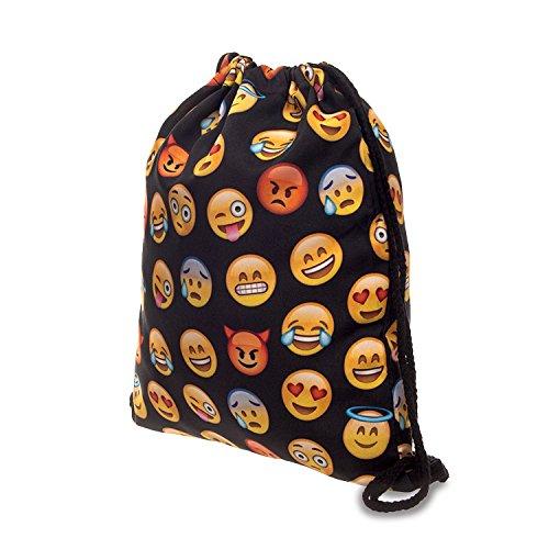 Imagen de fullprint, bolsa  con cordón, para hombre, mujer o niños, para la escuela, como bolso de mano o para el gimnasio multicolor emoji black uno talla  alta 40 cm/longitud 33 cm alternativa