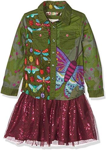 Desigual Mädchen Vest_Butterfly Kleid, Grün (Avocado 4124), 140 (Herstellergröße: 9/10)