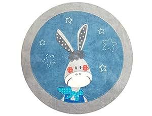 Titoutam TS0831 Tapis Rond Gaston Bleu 110 cm