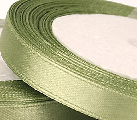 1 Roll of 10mm x 25 metres Satin Ribbon, Sage, Light green, Wedding Favours Decorative (Tessuto Raso Verde)