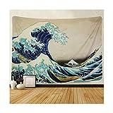 Gnzoe Polyester Duschvorhang Welle Muster Design Vorhang Waschbar für Badezimmer/Badewanne Blau 130x150CM