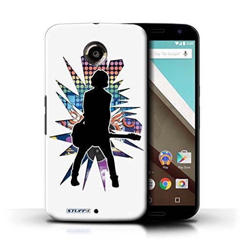 Kobalt® Imprimé Etui / Coque pour Motorola Nexus 6 / Elvis Noir conception / Série Rock Star Pose émotion Blanc