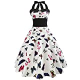 Internet Sexy Femme Robe Vintage Floral Bodycon Sans Manches Casual Robe de Soirée Prom Swing Robe 1950 's Style Audrey Hepburn Rockabilly Pin-up Robes Plissées Col Rond (M, Rose)