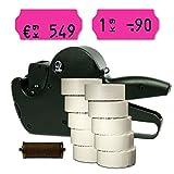 Preisauszeichner Set: Auszeichnungsgerät Jolly C6 für 26x12 inkl. 15.000 HUTNER Preisetiketten pink permanent + 1 Farbrolle | etikettieren | HUTNER