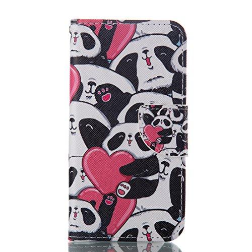 Nancen HTC One A9 (5 Zoll) Ledertasche / Handyhülle, Bookstyle Flip Case Folio Cover PU Leder Wallet Etui Handy Zubehör Lederhülle Schutzhülle - mit Standfunktion Magnetverschluss Brieftasche und Karten Slot [Netter Panda]