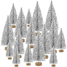 TUPARKA 48 Pcs Miniatura Botella Cepillo Árboles Mini árboles de Navidad Sisal Nieve Pinos de pino