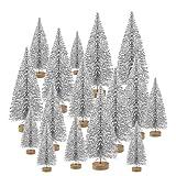 TUPARKA 48 Stücke Miniatur Flasche Pinsel Bäume Mini Weihnachtsbäume Sisal Schnee Kiefer Bäume Tischplatte Bäume für Weihnachtsfeier Dekorationen DIY Zimmer Dekorieren Diorama Modelle (Silver)