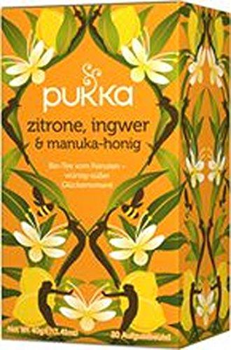 Zitrone, Ingwer & Manukahonig PUKKA Tee BIO 4 Packungen mit je 20 Teebeuteln Honig-zitrone-ingwer