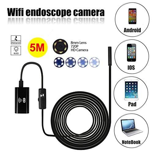WiFi Endoskope, SGODDE HD 2 Millionen Pixel COMS Kamera USB schlange kamera Inspektionskamera, WIFI IOS Android Endoskop Kamerakopf mit 6 Einstellbare Weiße LEDs Endoskop Inspektionskamera Rohr Pixel-10 Einheiten