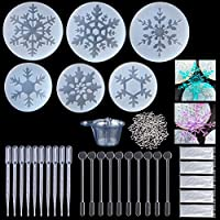 Vidillo Resin Casting Molds,146 Pcs 6 Snowflake Silicone Bracelet Jewelry Making Molds+100 Screw Eye Pins+10 Disposable Plastic Cups+10 Stirrers+10 Droppers+10 Disposable gloves(Snowflake)