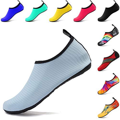 VIFUUR Wassersport Schuhe Barfuß Quick-Dry Aqua Yoga Slip-on für Männer Frauen Kinder Mesh Blau EU38/39 -