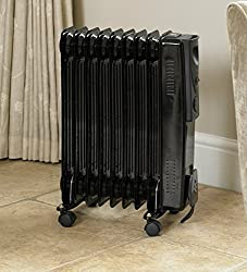 Garden Mile® 2000w 9 Fin Black Oil Filled Radiator Portable Energy Effiicent Electric Heater Small Compact Floor Standing Room Heater With Adjustable Heat Control (Black 2000w 9 Fin Oil Filled Radiator)
