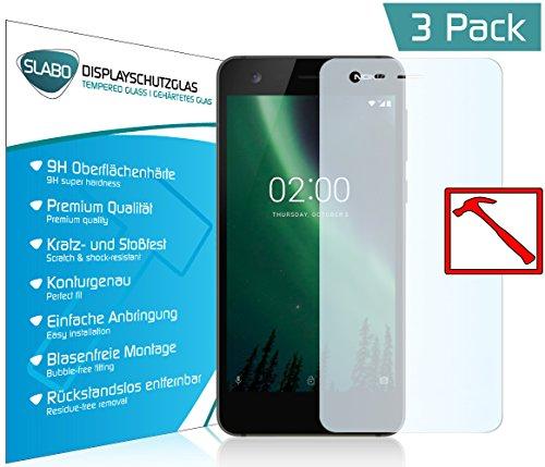 """3 x Slabo PREMIUM Panzerglas Nokia 7 Plus Echtglas Displayschutzfolie Schutzfolie Folie (verkleinerte Folien, aufgrund der Wölbung des Displays) """"Tempered Glass"""" KLAR - 9H Hartglas"""
