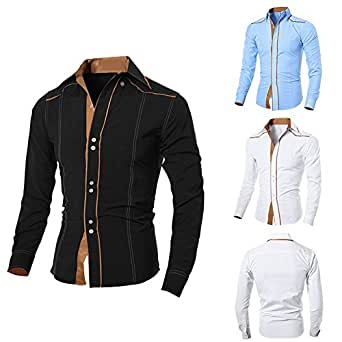 c400b0b44 2017 Western Fashion Epaulette Double Pockets Designer Men Slim Fit  Long-Sleeved Shirts Pure Color Tops Low Price Wholesale: Amazon.in: Clothing  & ...