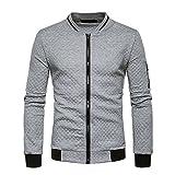 Veravant Sweat-Shirt Homme Manches Longues Pull Uni Zippé Bomber Blouson Veste Sport - Gris clair - Medium