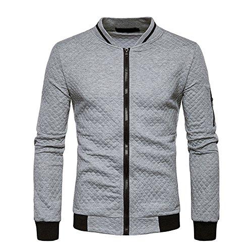 Veravant Sweat-Shirt Homme Manches Longues Pull Uni Zippé Bomber Blouson Veste Sport - Gris clair - Large
