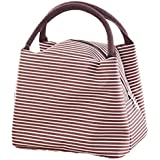 LQZ Fashion Stripe Picnic School Office Insulated Tote Lunch Bag for Women Men (Brown)