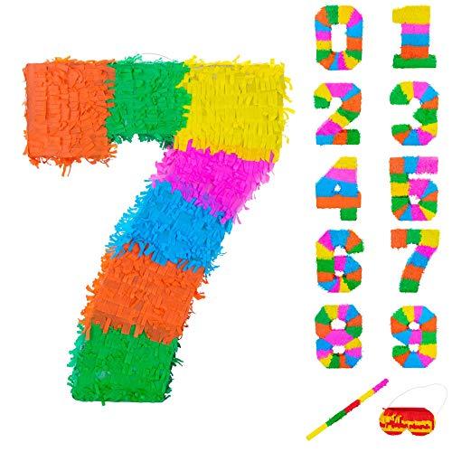 Fax Kartoffel Nummer 7 Pinata Set mit Stick & Blindfold - 50 x 7,5 x 35 cm - Rainbow
