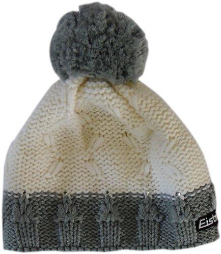 Eisbär Damen Mütze Riga Crystal White pom: graumele, 57cm Crystal Pom Poms