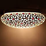 #8: Mozaic Lamps Handcrafted Lamp Red & White Flower Antique Design Home Decor Mosaic Ceiling Lamp Without Bulb