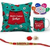 """Indigifts Raksha Bandhan Gifts For Brother World's Coolest Brother Quote Printed Gift Set Of Cus 12""""x12"""" With Filler, Mug 330 Ml, Crystal Rakhi For Brother, Roli, Chawal & Greeting Card - Rakhi Gifts For Brother, Rakshabandhan Gifts, Rakhi F"""
