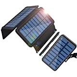Solar Charger 20000mAh, Portable Detachable Outdoor Waterproof Power Bank with 4 Solar Panels
