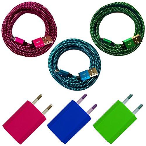 3x USB Netzteil 5V/1A + 3x 2m Premium Nylon Micro USB Ladekabel Datenkabel SET kompatibel mit [Universal, Handy, Tablet, Smartphone, Samsung Galaxy, HTC, Nokia, Sony, LG, Nexus, und viele mehr...] blau + grün + pink