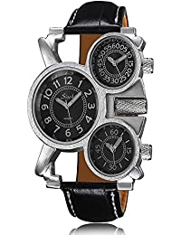 iSweven isweven Fashion personality three time zones watch for men Analogue Black Unisex Wrist Watch W1027bb