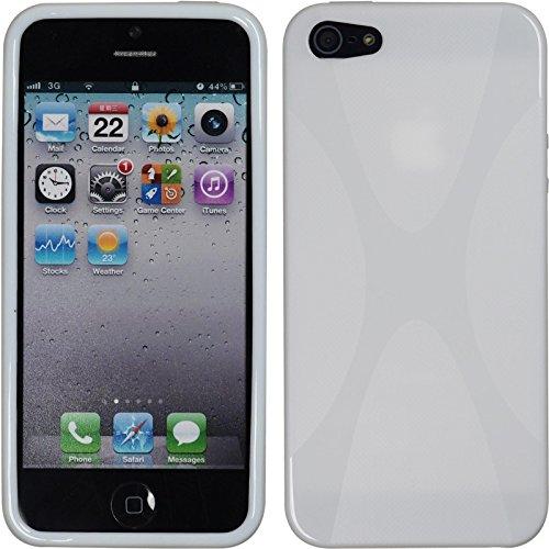 PhoneNatic Case für Apple iPhone SE Hülle Silikon schwarz X-Style Cover iPhone SE Tasche + 2 Schutzfolien Weiß