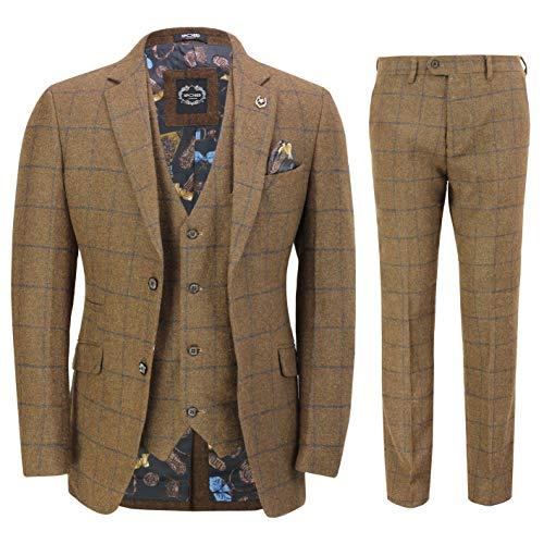 Fischgräten-anzug (Xposed Herren Anzug, Fischgrät-Muster Braun Dark Oak Brown 116,84 cm 91,44 cm Gr. 48, Dark Oak Brown)