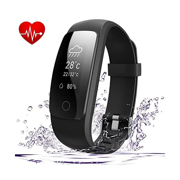 AndThere Fitness Tracker Heart Rate Monitor Bluetooth Smart Watch Activity Tracker Waterproof Wrist Pedometer Step Tracker Calorie Counter Sleep Monitor Health Bracelet For Android And IOS Smartphone