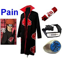 Anime Naruto Pain cosplay costume, manteau Akatsuki (taille M:hauteur 159cm-168cm)+ anneau +Pain bandeau +Naruto trousse