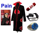 SUNKEE Traje de Cosplay para cosplay Naruto Akatsuki Pain Ninja Set- Capa (M:Tamaño 159cm-168cm)+caja de lápiz+Pain diadema+anillo