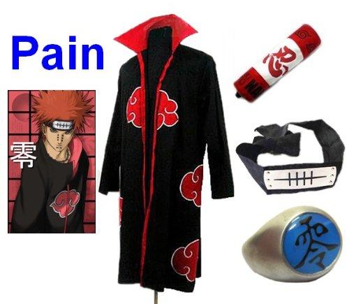 Cosplay Verkauf Kostüm Für - Naruto Akatsuki Pain Cosplay Kostüm Set (Akatsuki Cloak,Größe:S: Höhe 150cm-158cm + Pain Stirnband + Pain Ring + Naruto Federmäppchen)