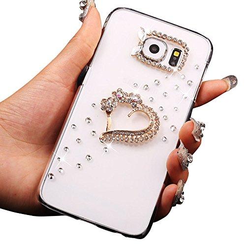 Diamante Custodia Per Samsung Galaxy S7 Edge (2016) Protezione Antiurto Slim PC Case with Cover Trasparente Bling Bling Diamond Custodia Protettiva Ultra Sottile Per Paraurti Custodia Crystal Clear-Custodia Modello Flower