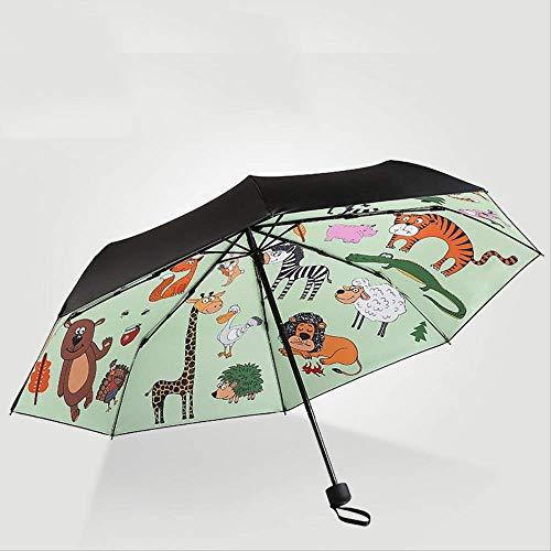 LZBDKM Cartoon Tier Regenschirm Lion Regen Frauen Doppelschicht Taschenschirme Weibliche Sunny Sonnenschirm Liebe Ozean Fisch Mini Taschenschirm1