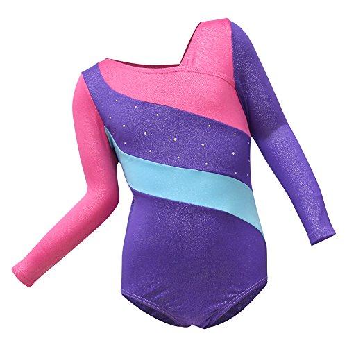 Basumee Mädchen Turnanzug für Gymnastik, Einteilig Unitard Gymnastikanzug für Tanz Ballett Sport (Langarm, Jahr 5-6) (Kind Langarm Unitard)