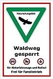 Schild - Naturschutzgebiet - Waldweg gesperrt – 30x20cm   stabile 3mm starke Aluminiumverbundplatte – S00359-036-B +++ in 20 Varianten erhältlich