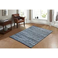 AHOC® Large 150x240cm Denim Chindi Rug Handmade Area Rag Recycled Jeans Fabric Cotton Floor Mat Hand Woven Traditional Indian (150x240cm (5x8