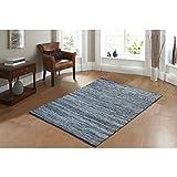 """AHOC® pequeño 70x 140cm alfombra hecho a mano área de tela vaquera Chindi trapo reciclado Jeans tela de algodón piso alfombra tejida a mano tradicional de la India (70x 140cm (2'4' x4'7""""))"""