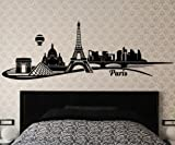 Wandtattoo Paris Skyline Wand Aufkleber Eiffelturm Frankreich City Stadt 1M093, Farbe:Schwarz Matt;Länge des Motives:100cm