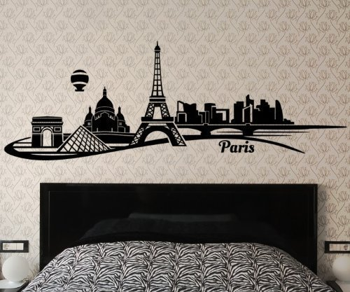 Wandtattoo Paris Skyline Wand Aufkleber Eiffelturm Frankreich City Stadt 1M093, Farbe:Schwarz Matt;Länge des - Paris-wand-aufkleber